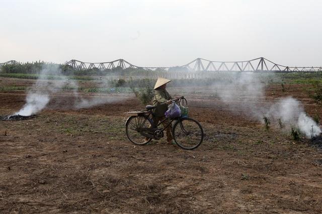 Cầu Long Biên nhìn từ bãi giữa sông Hồng.