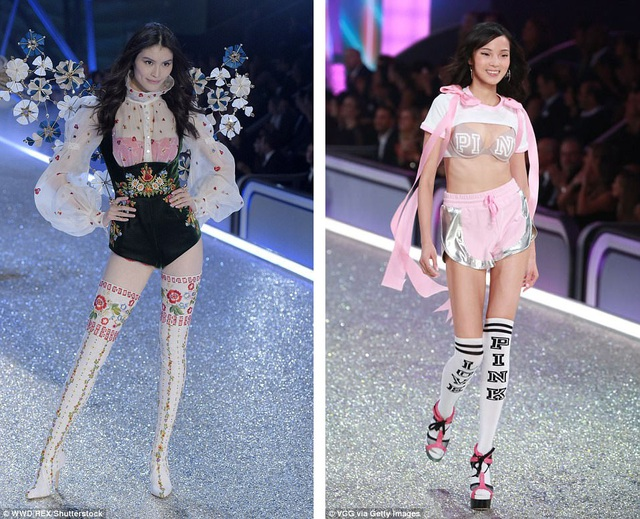 """Hai người mẫu Trung Quốc cũng từng xuất hiện trong show của """"Victoria's Secret"""" hồi năm ngoái - He Sui (trái) và Ju Xiaowen (phải)."""
