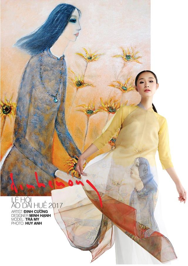 Áo dài NTK Minh Hạnh trên nền tranh cố họa sĩ Đinh Cường