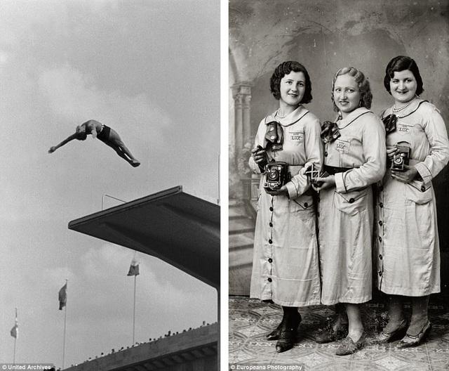 Ảnh trái: Một vận động viên nhảy cầu đang trình diễn tại Thế vận hội Olympic Berlin 1936. Ảnh phải: Các nữ công nhân trong một nhà máy sản xuất máy ảnh đang giới thiệu những công nghệ chụp ảnh mới nhất.