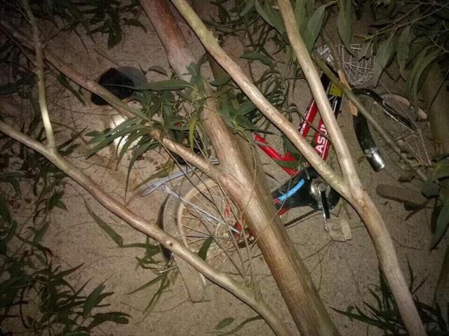 Chiếc xe đạp của hai chị em Thương và Nguyện bị cây bạch đàn đè nát.