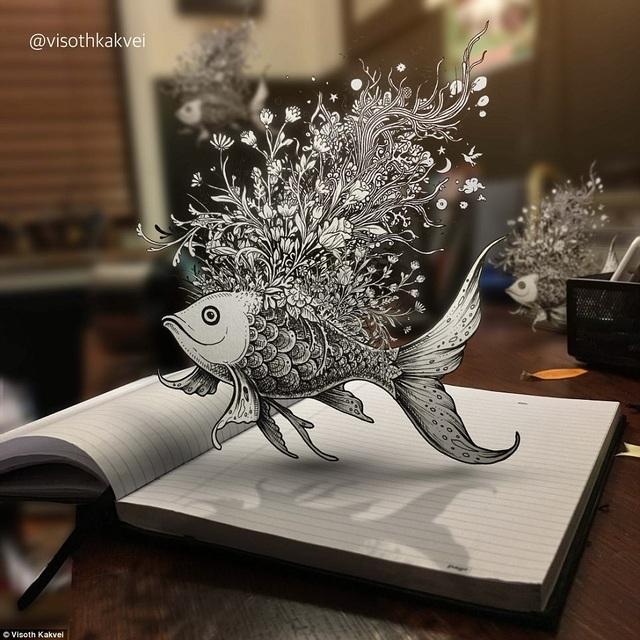 Hình vẽ chú cá được tạo hiệu ứng sống động với cách sắp đặt khéo léo.