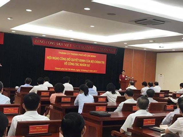 Quang cảnh Hội nghị công bố trao quyết định của Bộ Chính trị về công tác nhân sự sáng nay 10/5. (Ảnh: Công Quang)