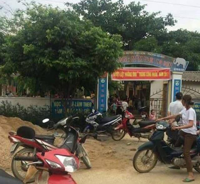 Trường mầm non Thọ Sơn - nơi xảy ra sự việc nghi cho trẻ mầm non ăn gà dịch.