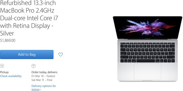 MacBook Pro 2016 phiên bản 13,3-inch hàng tân trang được rao bán trên website của Apple.