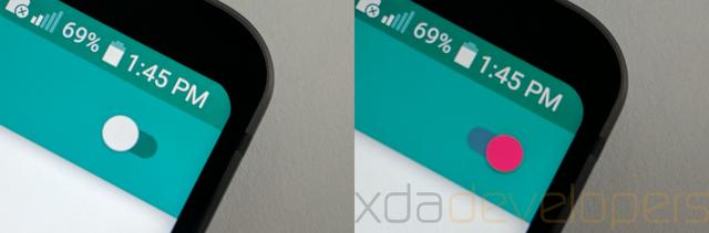 Cận cảnh đường bo tròn trên góc màn hình LG G6 trước (hình trái) và sau khi cài đặt ứng dụng Cornerfly.