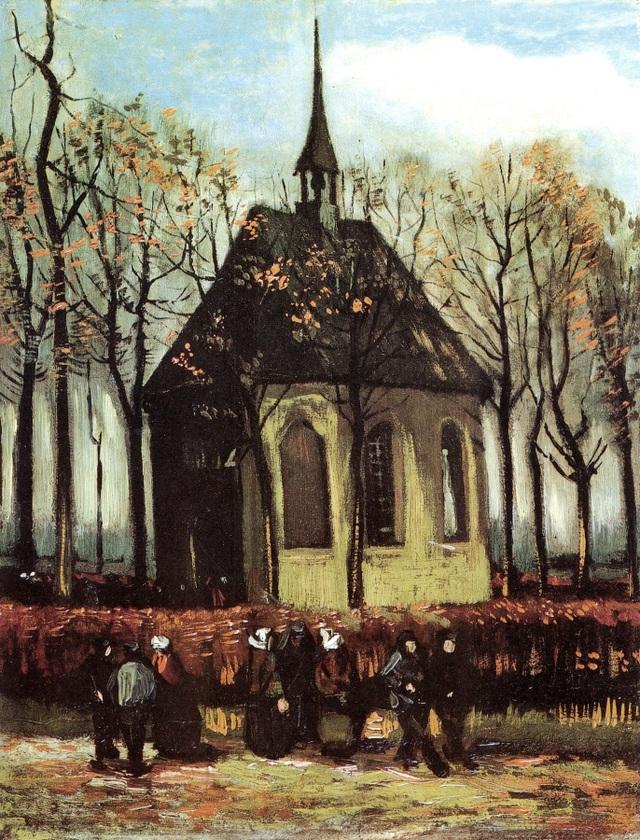 """Bức """"Giáo đoàn rời khỏi nhà thờ tin lành ở Nuenen"""" (1884-1885) là bức sơn dầu còn lại bị đánh cắp trong cùng vụ việc. Bức tranh này khắc họa ngôi làng nơi cha mẹ Van Gogh sinh sống, ông từng thực hiện bức tranh để tặng mẹ."""