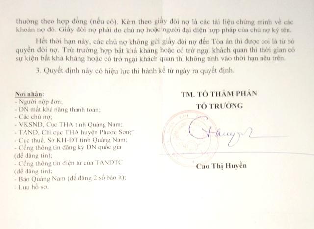 Quyết định của Tòa án tỉnh Quảng Nam mở thủ tục phá sản Công ty vàng Phước Sơn