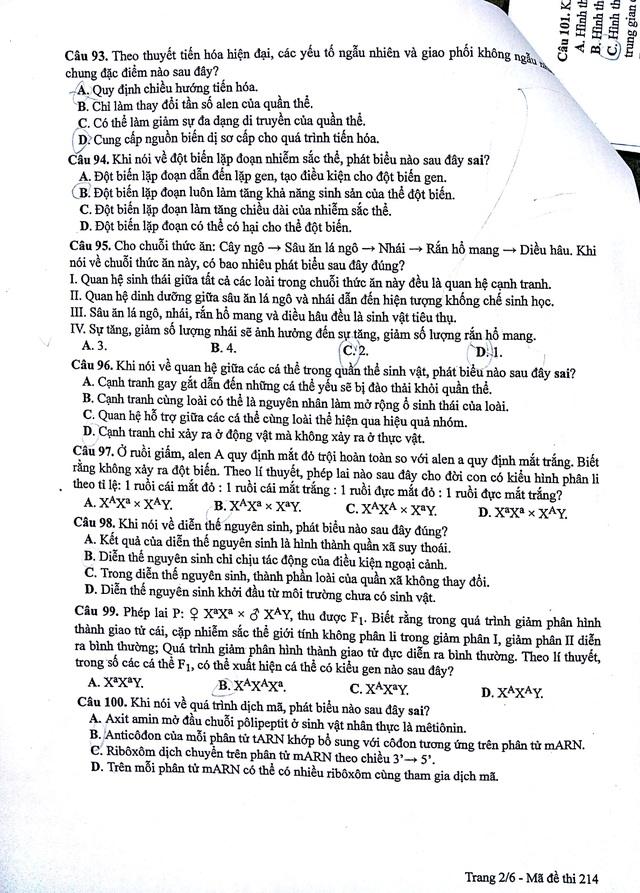 Đáp án bài giải môn Sinh học mã đề 214 - 2