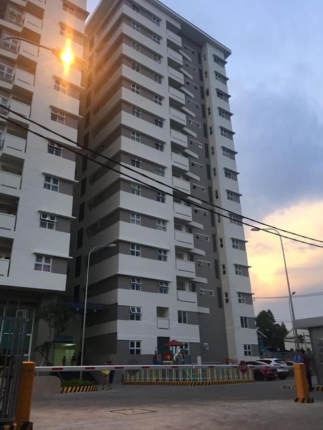 Chung cư T., quận 9, nơi xảy ra vụ tai nạn.