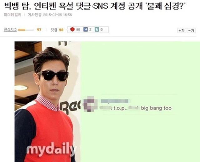 Thành viên T.O.P cùng từng phản ứng trước những bình luận khiếm nhã của fan Việt, sự việc còn được báo Hàn đưa tin