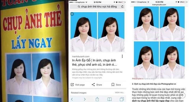 Tấm ảnh thẻ của Hoàng Phượng xuất hiện trên google và được rất nhiều cơ sở lấy lại để làm ảnh thẻ mẫu