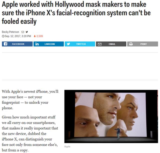 Apple từng khẳng định rằng họ đã mời những chuyên gia làm mặt nạ đến từ Hollywood để đảm bảo Face ID sẽ không bị qua mặt một cách dễ dàng.