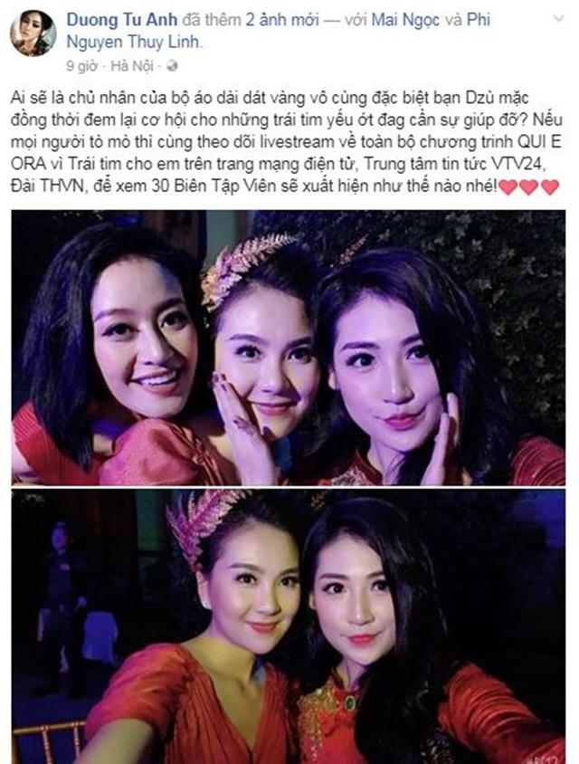 Á hậu Dương Tú Anh chia sẻ cảm xúc khi trước giờ G khi đấu giá sản phẩm áo dài dát vàng của NTK Đỗ Trịnh Hoài Nam vừa mang về từ tuần lễ thời trang thế giới NewYork Couture Fashion Week.
