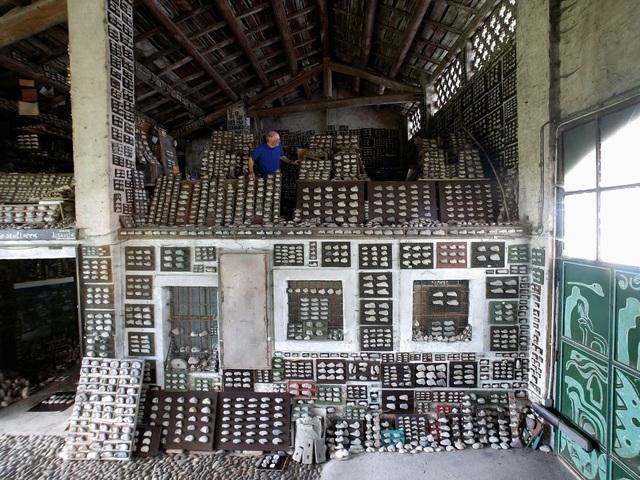 Ông Luigi Lineri sưu tập hàng chục ngàn viên sỏi, viên cuội, viên đá… với các hình thù và kích thước đa dạng trong nhà xưởng của mình ở Ý.