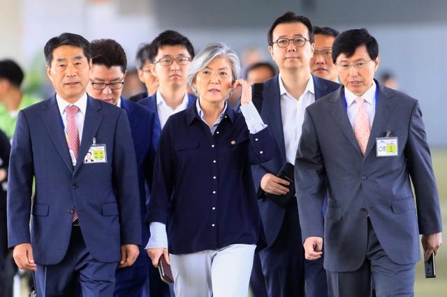 Ngoại trưởng Kang Kyung-wha và các quan chức Hàn Quốc tới Manila, Philippines hôm 5/8 để tham dự các cuộc họp cấp cao của ASEAN. (Ảnh: Reuters)