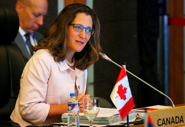 Ngoại trưởng Canada Chrystia Freeland trong Hội nghị Bộ trưởng Ngoại giao ASEAN - Canada tại Manila, Philippines ngày 6/8. (Ảnh: Reuters)