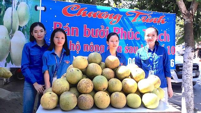 Nhóm bạn trẻ cùng với Cẩm Vân giúp bà con nhân dân Hương Khê bán bưởi Phúc Trạch tại TP Vinh, Nghệ An.