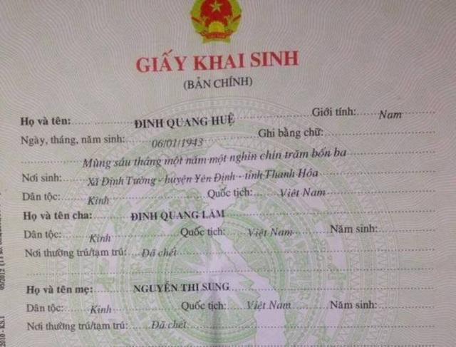 Ông nội anh Hoạt tên là Đinh Quang Lăm