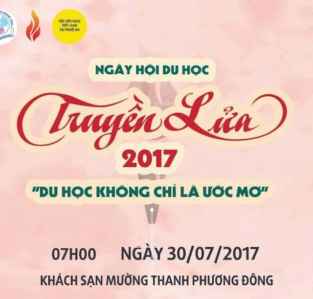 Hội thảo du học Truyền Lửa lần thứ IX năm 2017 dự kiến có khoảng 1.000 em học sinh trên địa bàn 2 tỉnh Nghệ An và Hà Tĩnh tham dự.