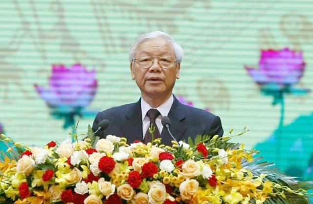 Tổng Bí thư Nguyễn Phú Trọng đọc diễn văn tại lễ kỷ niệm.