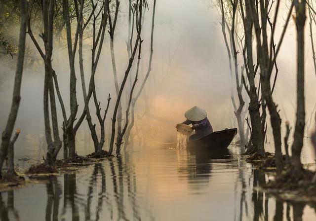 Một người phụ nữ đang xúc tôm trong sương sớm ở đầm Quan Sơn, huyện Mỹ Đức, cách Hà Nội khoảng 50km. Mỗi ngày, cô có thể đánh được 2 giỏ tôm và bán với giá khoảng 100.000 đồng. (Click vào đây để xem ảnh kích thước lớn)