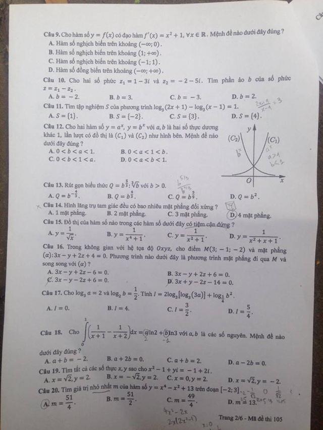 Đáp án gợi ý môn Toán trắc nghiệm mã đề 105 - 2