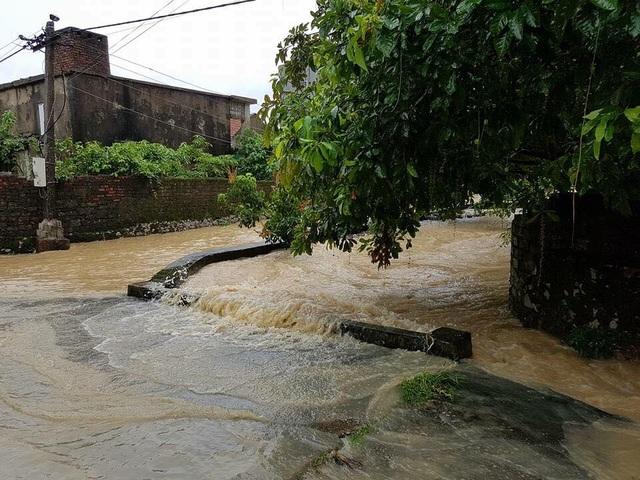 Nước mưa lớn gây ngập lụt cục bộ tại TX Hoàng Mai.