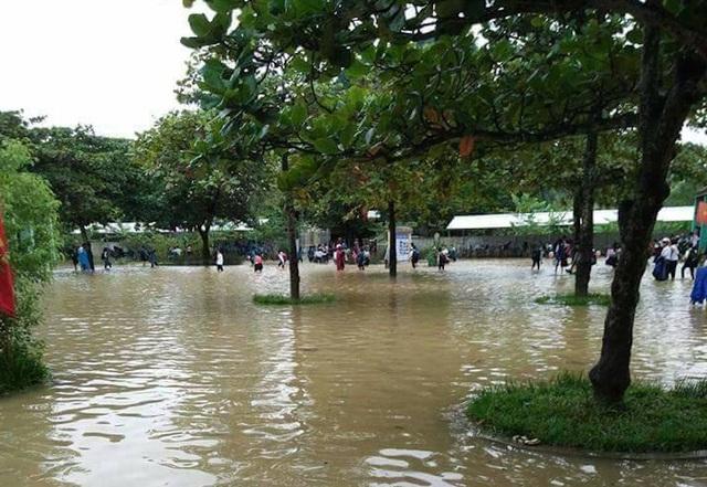 Mưa lớn làm sân trường ngập, các em buộc phải nghỉ học dở chừng trong những ngày qua tại huyện Anh Sơn.