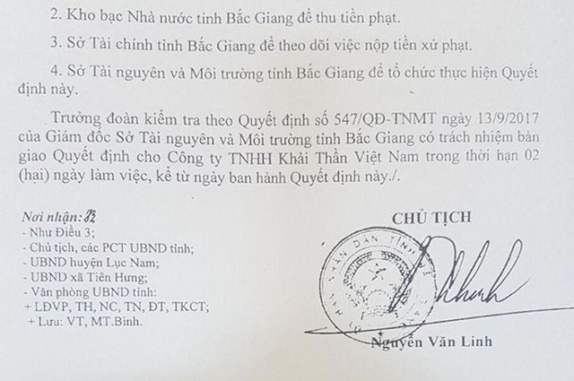 """Công ty TNHH Khải Thần Việt Nam đã bị xử phạt tổng cộng 560 triệu đồng và bị đình chỉ hoạt động 3 tháng với hàng loạt các chiêu trò """"bức tử"""" môi trường."""