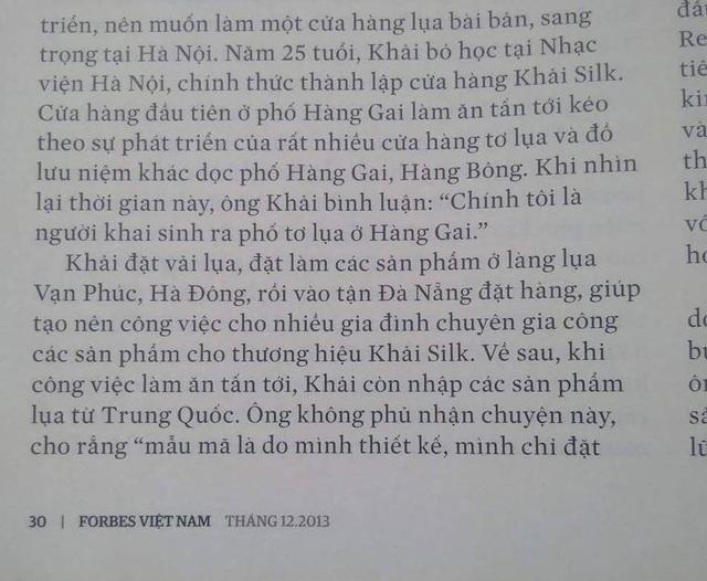 Bài viết trên Forbes từ năm 2013 có đoạn Khaisilk thừa nhận nhập hàng Trung Quốc.