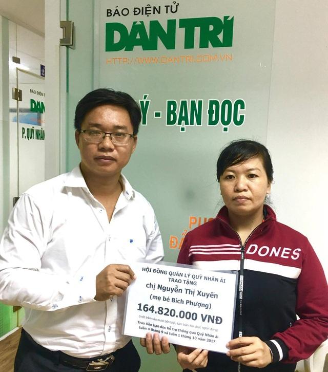 Nhà báo Ngô Công Quang – Phó trưởng văn phòng đại diện báo Dân trí tại TPHCM, trao quà tặng của bạn đọc đến với gia đình chị Xuyến