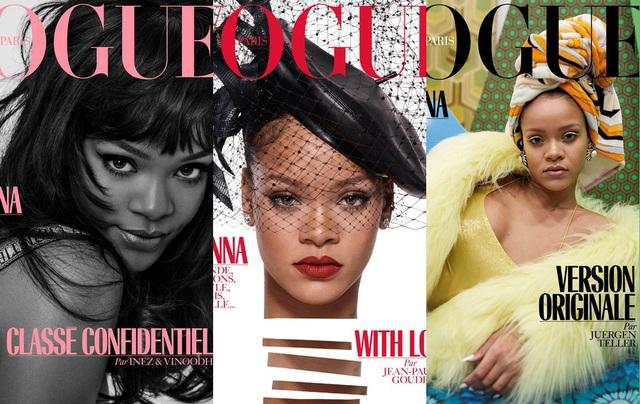 Rihanna xuất hiện trên 3 bìa báo khác nhau của số ra tháng 12 - tờ tạp chí Vogue (Pháp).