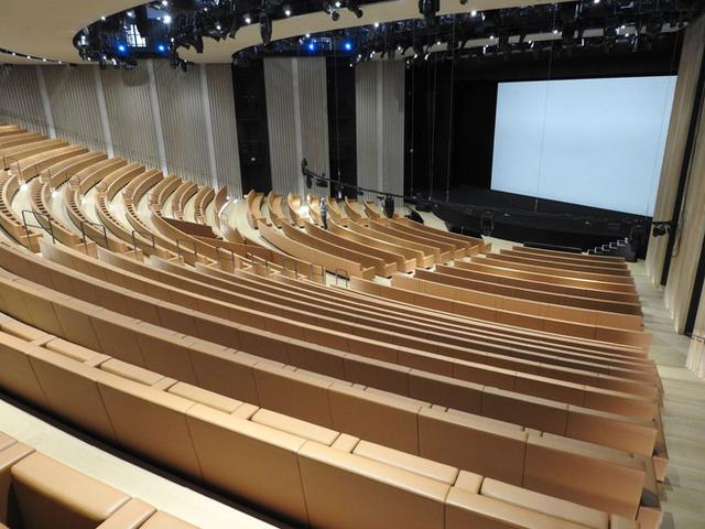 Khu vực khán phòng tại Nhà hát có sức chứa lên tới 921 chỗ ngồi, gấp 3 lần hội trường cũ của Apple.