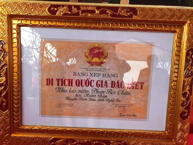 Khu lưu niệm Phan Bội Châu được công nhận Di tích Quốc gia đặc biệt.