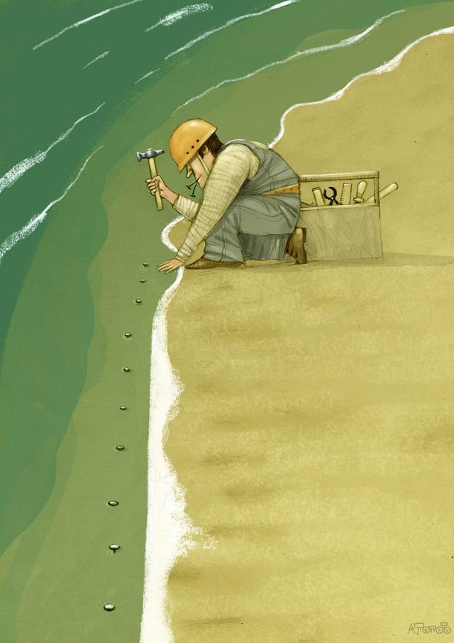 Bức vẽ của họa sĩ Andrei Popov (Nga) giành giải nhất. Hãy để những làn sóng biển xanh mát vẫn còn tiếp tục rì rào, êm ái cập bờ, như tự nhiên bao đời vẫn vậy. Nếu con người đi quá xa, đến một lúc nào đó bờ biển trong xanh sẽ chỉ còn là một trải nghiệm nhân tạo bởi biển xanh thực sự đã chẳng còn.