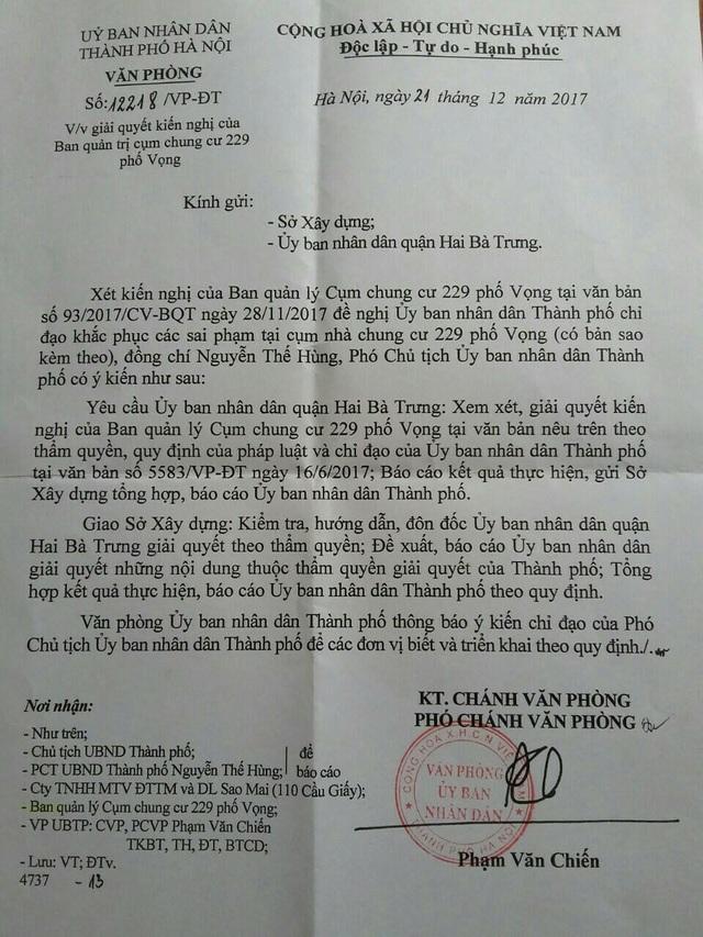 Phó Chủ tịch UBND Thành phố Hà Nội chỉ đạo Sở Xây dựng và UBND quận Hai Bà Trưng xử lý dứt điểm sai phạm tại cụm chung cư 229 phố Vọng.