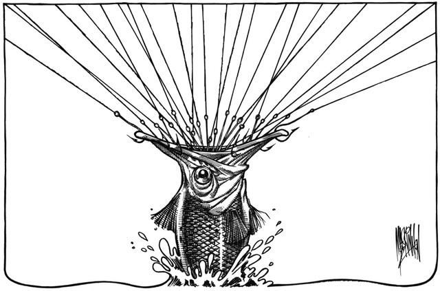 Bức vẽ của họa sĩ Bruce Mackinnon (Canada) đoạt giải nhì khắc họa một chú cá và hàng chục lưỡi câu. Một hình ảnh mang đầy tính ẩn dụ cho thấy con người ở nhiều nơi trên thế giới đang khai thác tới mức tận diệt môi trường biển.