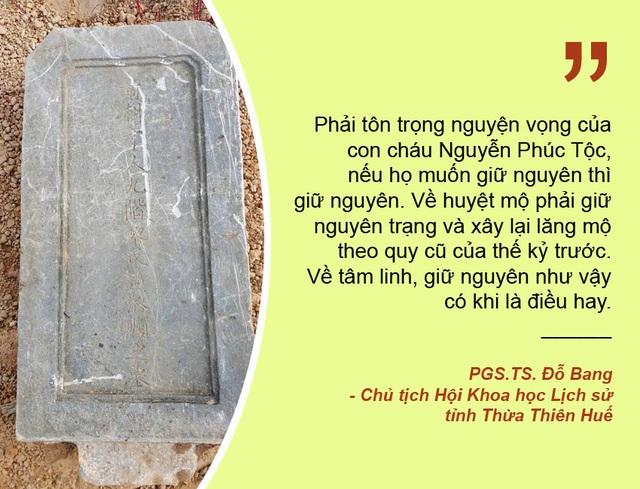 Xem thêm: Đề xuất để lăng mộ vợ vua Nguyễn bị san ủi tại vị trí cũ Chưa thống nhất phương án di dời lăng mộ vợ vua Tự Đức sau vụ san ủi