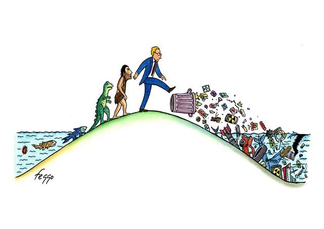 Bức vẽ của họa sĩ Felipe Galindo (Mỹ) về sự tiến hóa của con người. Sự sống nhỏ bé xuất hiện đầu tiên trên Trái Đất bắt đầu từ đại dương. Và giờ đây, khi con người đang ở nền văn minh phát triển nhất, chúng ta trả lại gì cho mẹ biển cả?