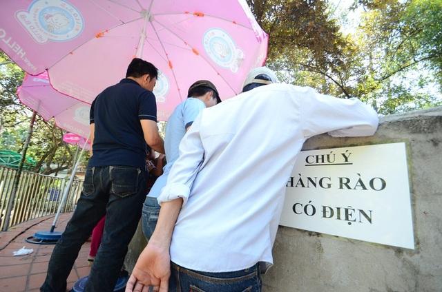 Bảng cảnh báo có điện bên dưới hàng rào an toàn nhưng nhiều người vẫn cứ thích chồm người để xem thú gần hơn.