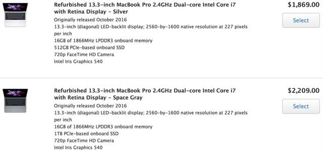 Nhiều model MacBook Pro 2016 tân trang khác cũng được giảm giá và rao bán công khai.