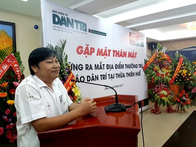 Ông Nguyễn Thái Sơn, Ủy viên Thường vụ Tỉnh ủy, Trưởng Ban Tuyên giáo Tỉnh ủy Thừa Thiên - Huế phát biểu tại buổi lễ ra mắt địa điểm thường trú báo Dân trí tại Thừa Thiên - Huế