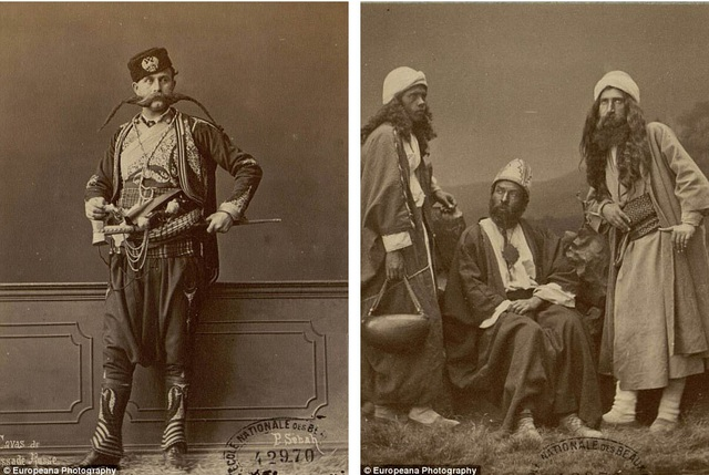 Hai bức ảnh chân dung được thực hiện bởi tay máy người Syria - Pascal Sébah hồi thế kỷ 19. Ảnh trái: Một nhà ngoại giao người Nga trong bộ lễ phục. Ảnh phải: Ba thầy tu đạo Hồi.