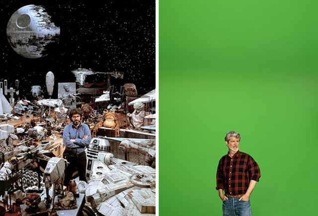 Thời xưa để làm phim, người ta cần rất nhiều đạo cụ và hỗ trợ phông nền. Tuy nhiên giờ đây chỉ cần một tấm màn xanh là đủ.
