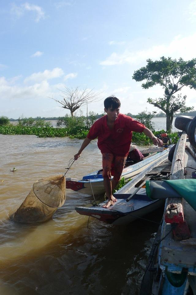 Anh Võ Văn Bào đang di chuyển khoảng 25kg cá linh non đúng chuẩn mà anh vừa trúng trong mẻ dớn sáng nay chuẩn bị bán cho thương lái