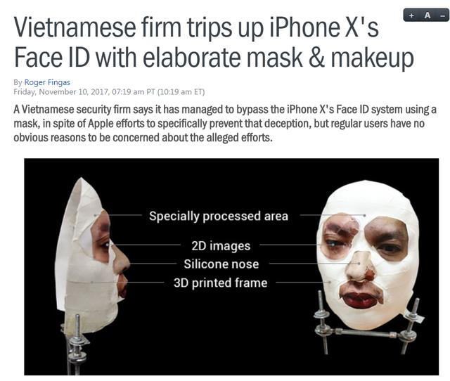 Tin BKAV đánh lừa Face ID được đăng tải trên trang Appleinsider.