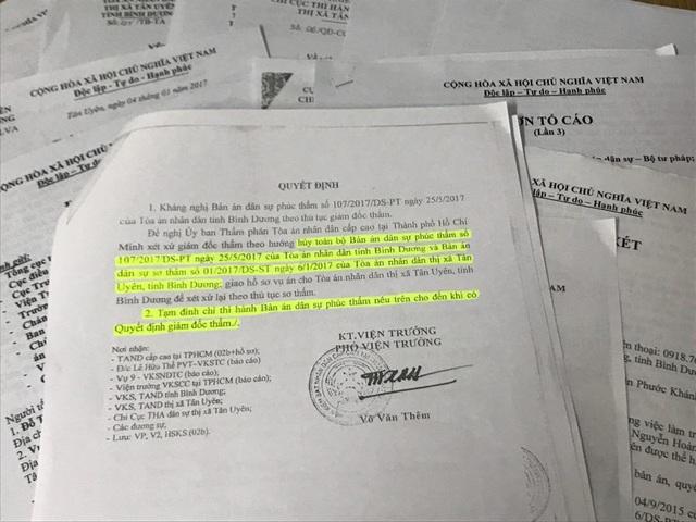 Viện KSND Cấp cao tại TP.HCM đề nghị  hủy toàn bộ hai bản án sơ thẩm và phúc thẩm. Tạm đình chỉ thi hành bản án dân sự phúc thẩm nêu trên cho đến khi có Quyết định giám đốc thẩm.