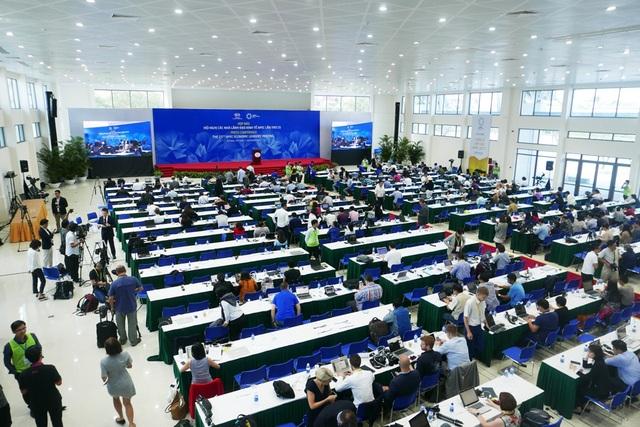 Quang cảnh trước cuộc họp báo do Chủ tịch nước Trần Đại Quang chủ trì. (Ảnh: Quý Đoàn)