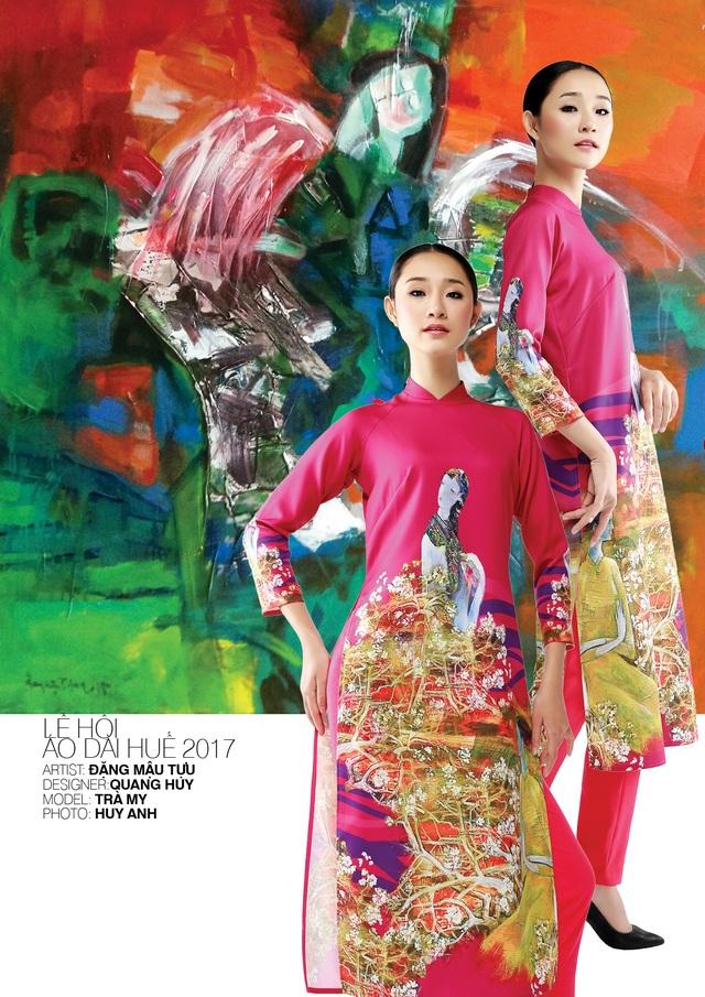 Áo dài NTK Quang Huy trên nền tranh họa sĩ Đặng Mậu Tựu